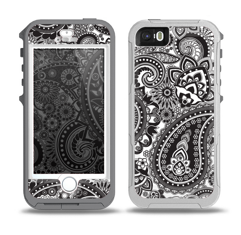 The Black and White Paisley Pattern V6 Skin for the iPhone 5-5s OtterBox Preserver WaterProof Case