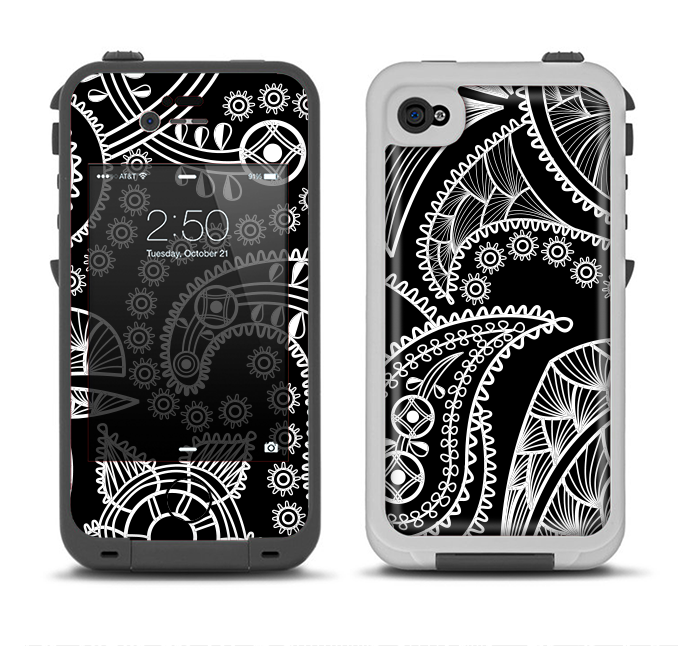 The Black and White Paisley Pattern v14 Apple iPhone 4-4s LifeProof Fre Case Skin Set