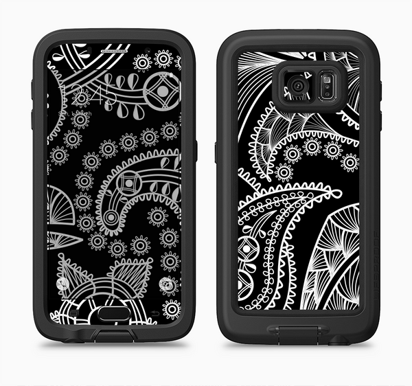 The Black and White Paisley Pattern v14 Full Body Samsung Galaxy S6 LifeProof Fre Case Skin Kit