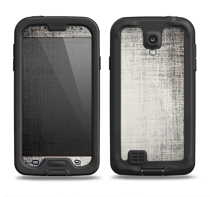 The Black and White Scratched Texture Samsung Galaxy S4 LifeProof Fre Case Skin Set