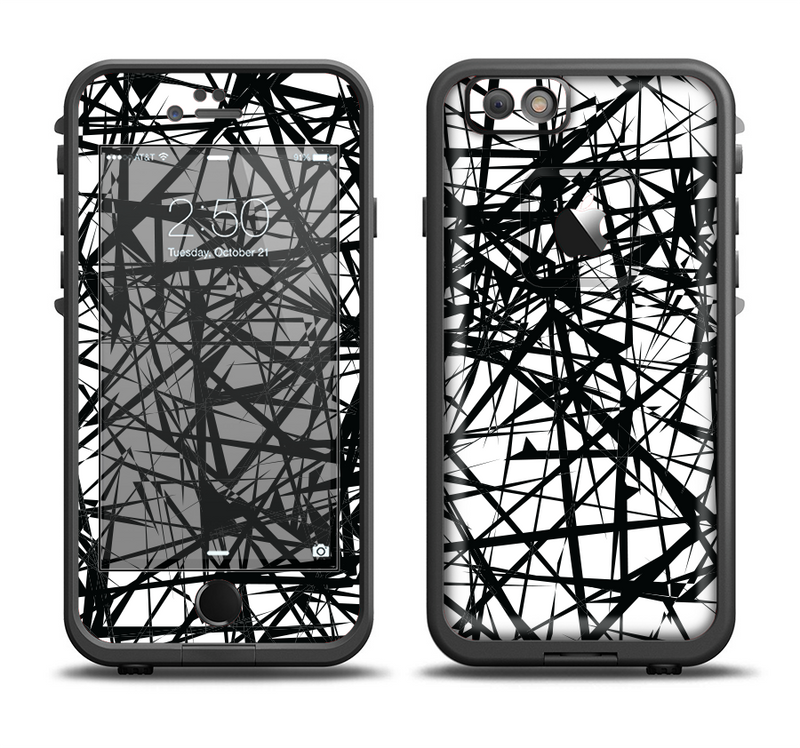 The Black and White Shards Apple iPhone 6/6s LifeProof Fre Case Skin Set