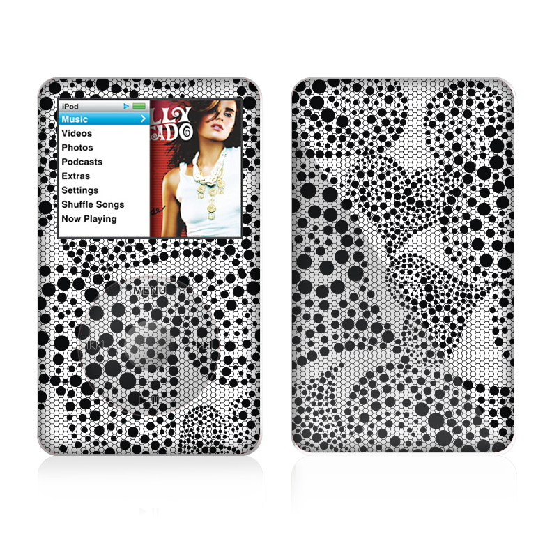The Black and White Spotted Hearts Skin For The Apple iPod Classic
