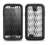 The Black and White Thin Lined ZigZag Pattern Samsung Galaxy S4 LifeProof Fre Case Skin Set