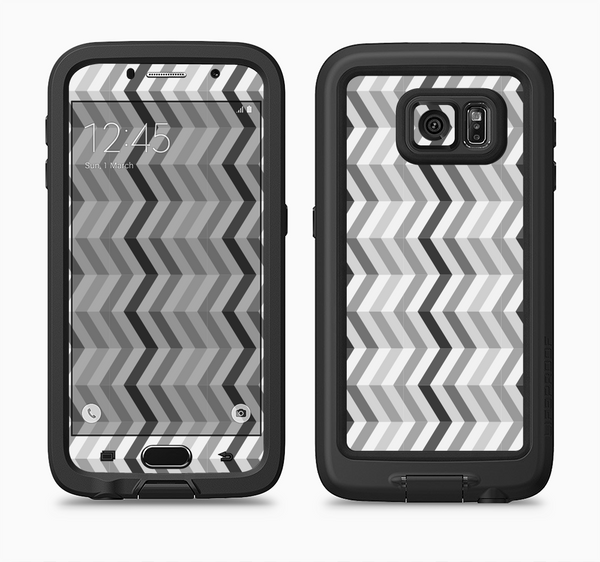 The Black and White Thin Lined ZigZag Pattern Full Body Samsung Galaxy S6 LifeProof Fre Case Skin Kit