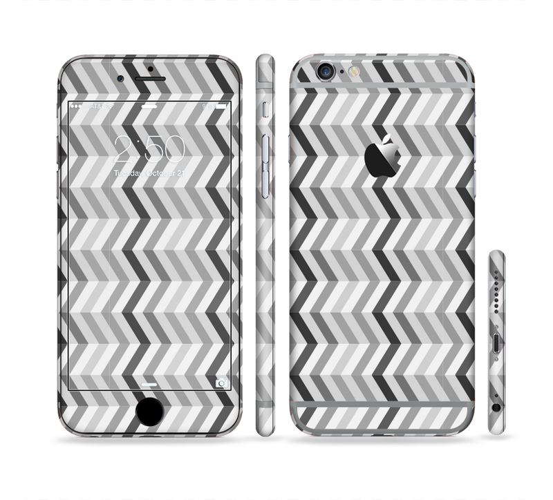 The Black and White Thin Lined ZigZag Pattern Sectioned Skin Series for the Apple iPhone 6s