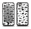 The Black and White Travel Collage Pattern Apple iPhone 6/6s LifeProof Fre Case Skin Set