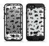 The Black and White Travel Collage Pattern Apple iPhone 6/6s LifeProof Fre POWER Case Skin Set