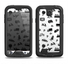The Black and White Travel Collage Pattern Samsung Galaxy S4 LifeProof Fre Case Skin Set
