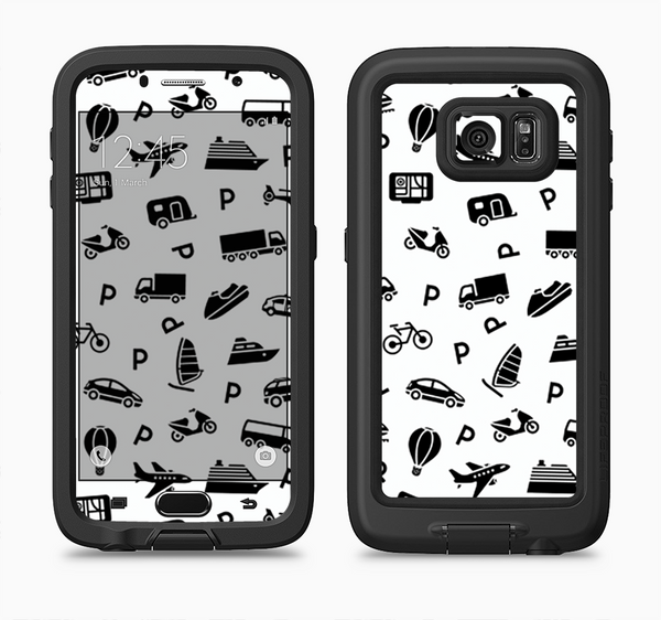 The Black and White Travel Collage Pattern Full Body Samsung Galaxy S6 LifeProof Fre Case Skin Kit
