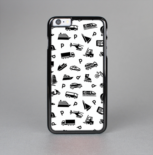 The Black and White Travel Collage Pattern Skin-Sert Case for the Apple iPhone 6 Plus