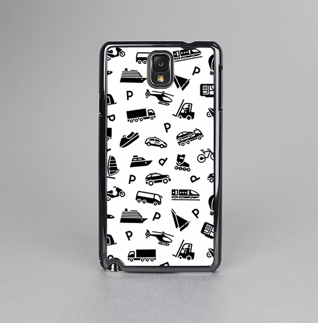 The Black and White Travel Collage Pattern Skin-Sert Case for the Samsung Galaxy Note 3