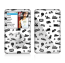 The Black and White Travel Collage Pattern Skin For The Apple iPod Classic