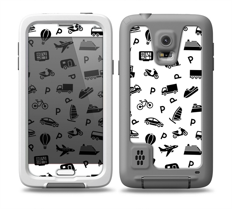 The Black and White Travel Collage Pattern Skin for the Samsung Galaxy S5 frē LifeProof Case