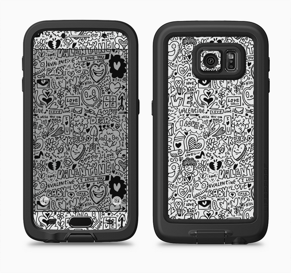 The Black and White Valentine Sketch Pattern Full Body Samsung Galaxy S6 LifeProof Fre Case Skin Kit