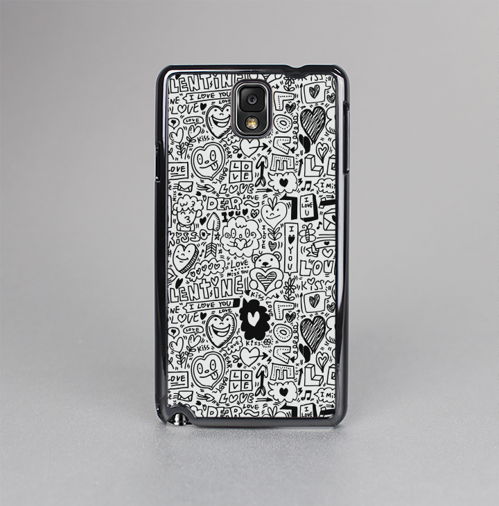 The Black and White Valentine Sketch Pattern Skin-Sert Case for the Samsung Galaxy Note 3