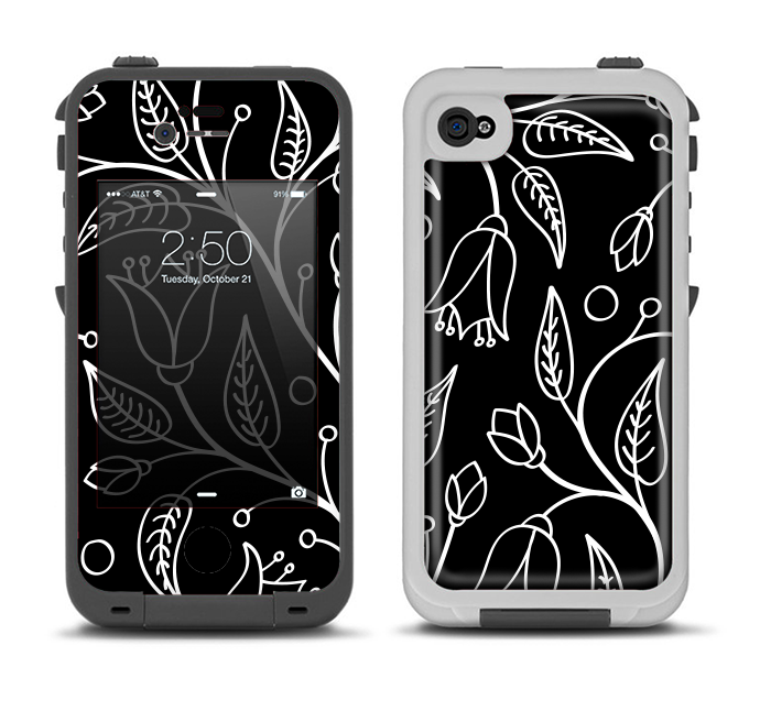 The Black and White Vector Branches Apple iPhone 4-4s LifeProof Fre Case Skin Set