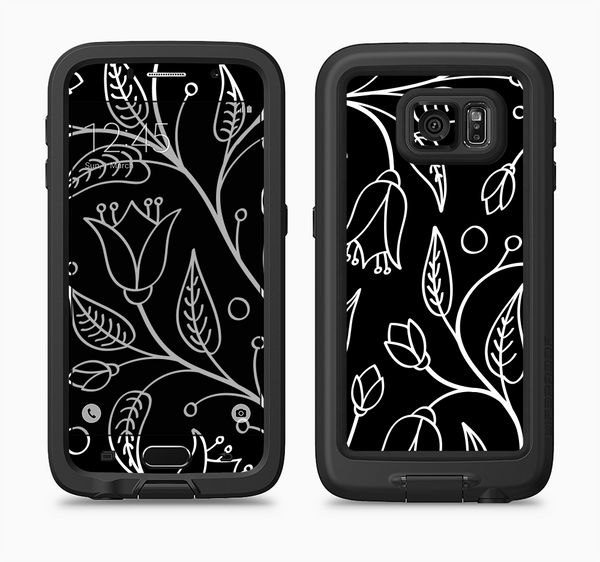The Black and White Vector Branches Full Body Samsung Galaxy S6 LifeProof Fre Case Skin Kit
