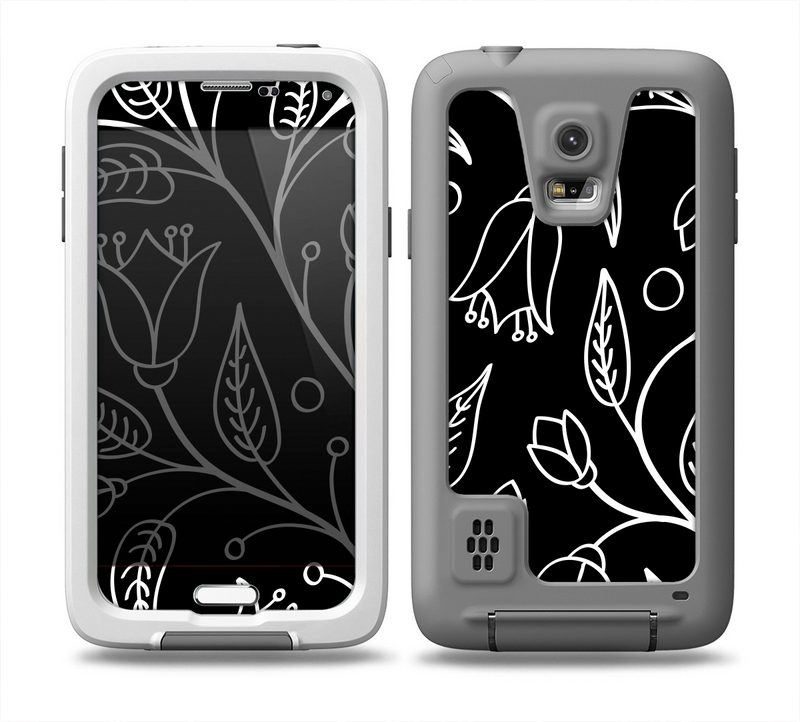 The Black and White Vector Branches Skin for the Samsung Galaxy S5 frē LifeProof Case