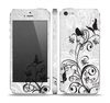 The Black and White Vector Butterfly Floral Skin Set for the Apple iPhone 5