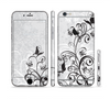 The Black and White Vector Butterfly Floral Sectioned Skin Series for the Apple iPhone 6