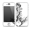 The Black and white Anchor with Roses Skin for the Apple iPhone 4-4s