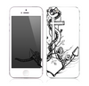 The Black and white Anchor with Roses Skin for the Apple iPhone 5s
