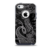 The Black with Thin White Paisley Pattern Skin for the iPhone 5c OtterBox Commuter Case