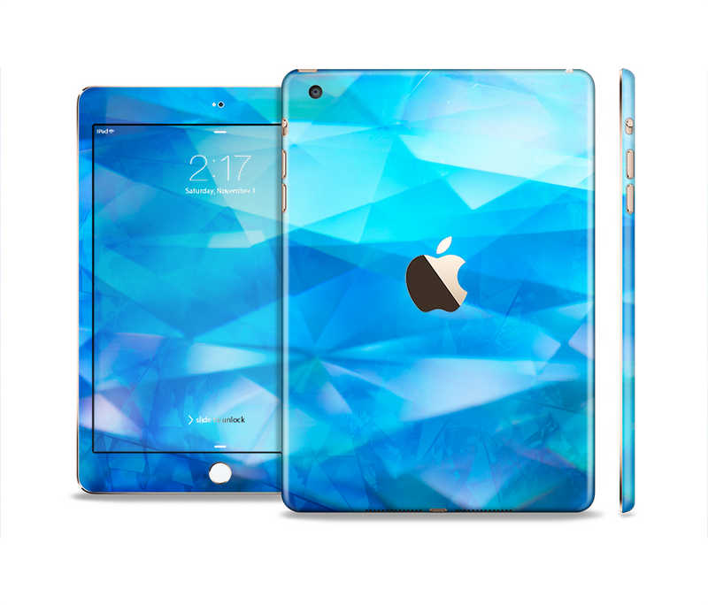 The Blue Abstract Crystal Pattern Full Body Skin Set for the Apple iPad Mini 3