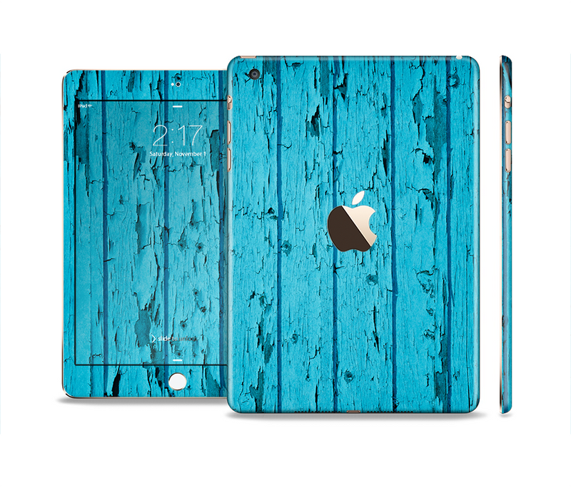 The Blue Aged Wood Panel Full Body Skin Set for the Apple iPad Mini 3