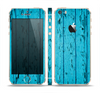 The Blue Aged Wood Panel Skin Set for the Apple iPhone 5s