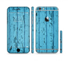 The Blue Aged Wood Panel Sectioned Skin Series for the Apple iPhone 6