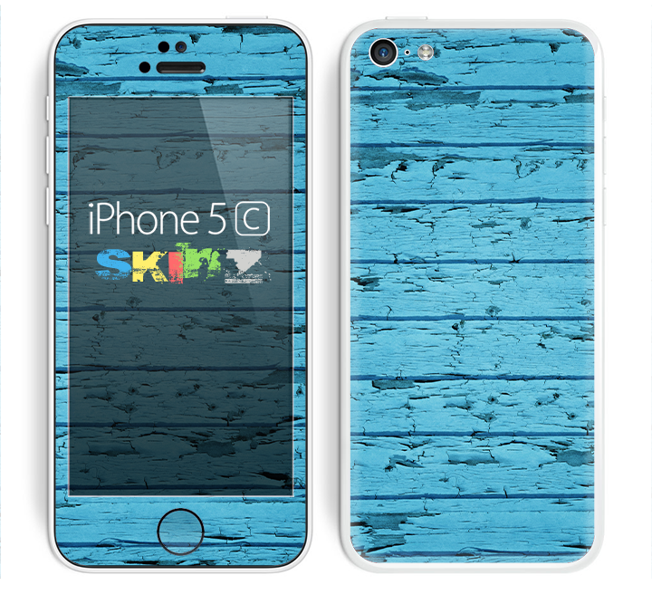 The Blue Aged Wood Panel Skin for the Apple iPhone 5c