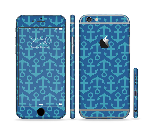 The Blue Anchor Collage V2 Sectioned Skin Series for the Apple iPhone 6
