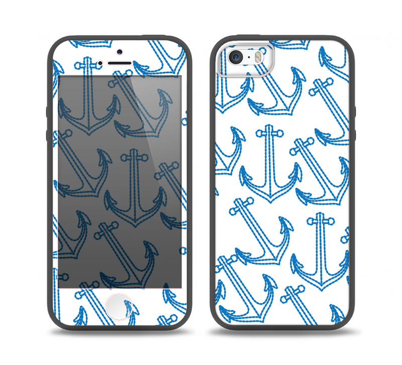 The Blue Anchor Stitched Pattern Skin Set for the iPhone 5-5s Skech Glow Case