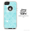 The Blue And White Abstract Circle Swirls Skin For The iPhone 4-4s or 5-5s Otterbox Commuter Case
