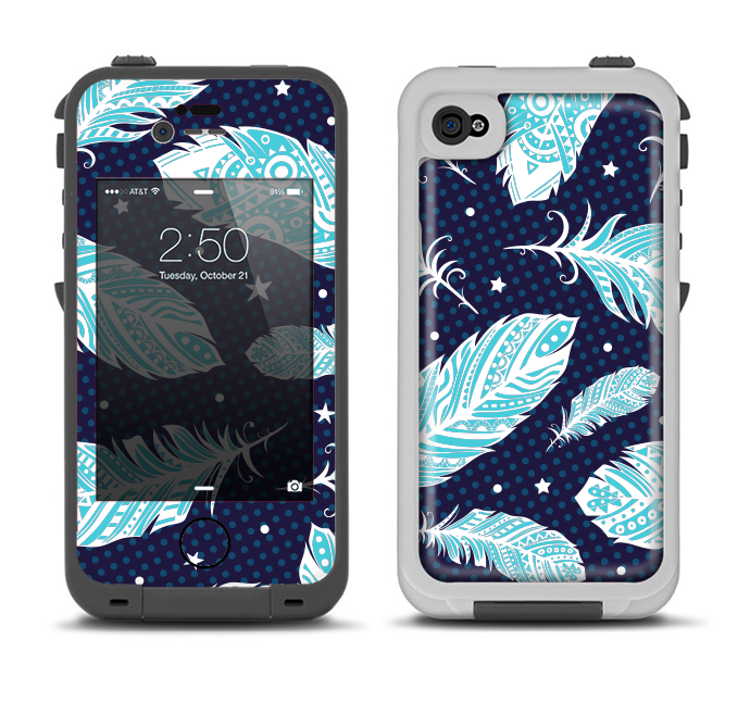 The Blue Aztec Feathers and Stars Apple iPhone 4-4s LifeProof Fre Case Skin Set