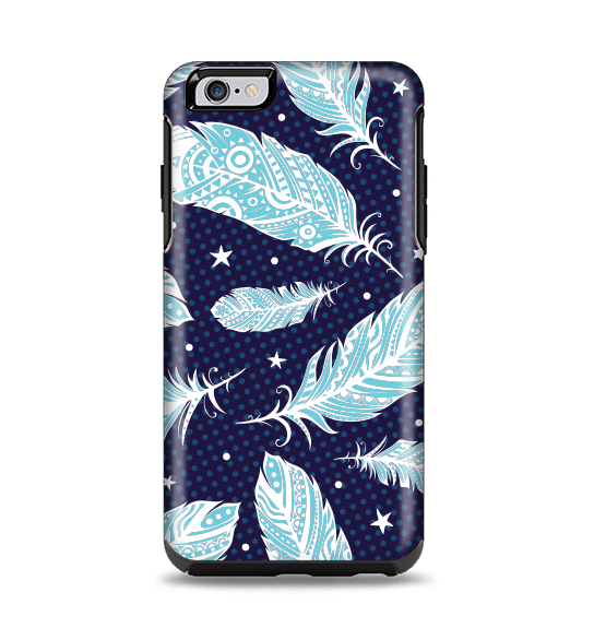 The Blue Aztec Feathers and Stars Apple iPhone 6 Plus Otterbox Symmetry Case Skin Set