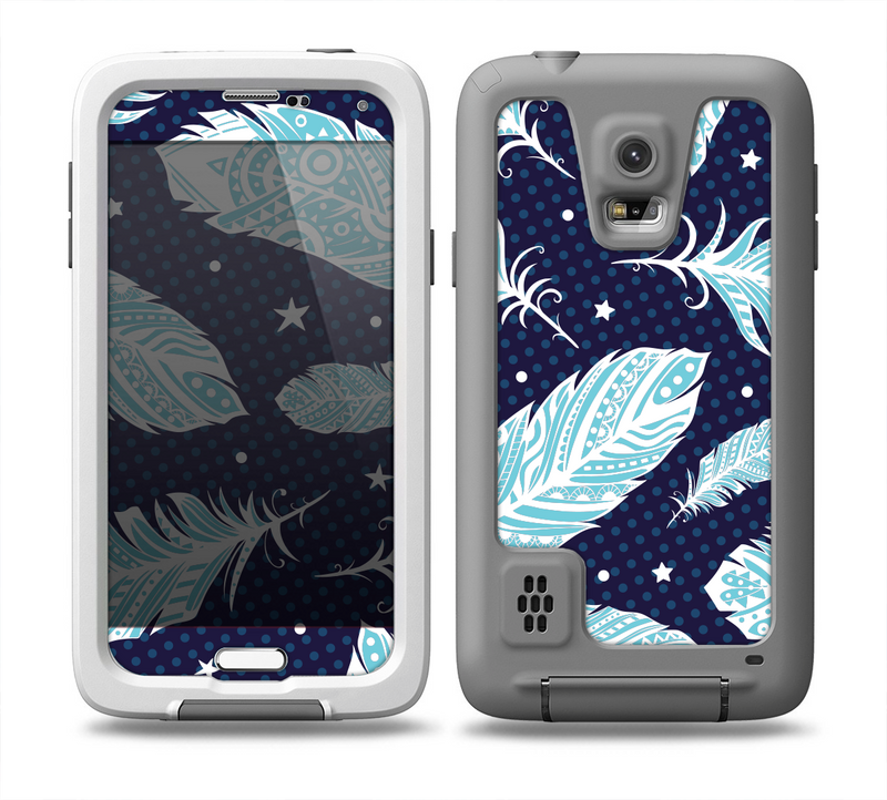 The Blue Aztec Feathers and Stars Skin for the Samsung Galaxy S5 frē LifeProof Case