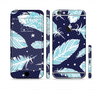 The Blue Aztec Feathers and Stars Sectioned Skin Series for the Apple iPhone 6