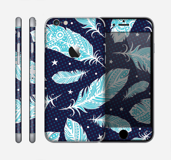 The Blue Aztec Feathers and Stars Skin for the Apple iPhone 6
