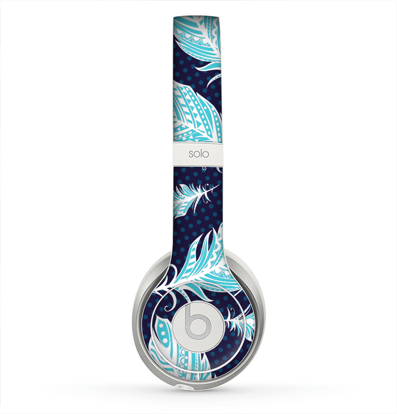 The Blue Aztec Feathers and Stars Skin for the Beats by Dre Solo 2 Headphones