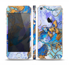 The Blue Bright Watercolor Butter-Floral Skin Set for the Apple iPhone 5s
