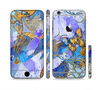 The Blue Bright Watercolor Butter-Floral Sectioned Skin Series for the Apple iPhone 6 Plus