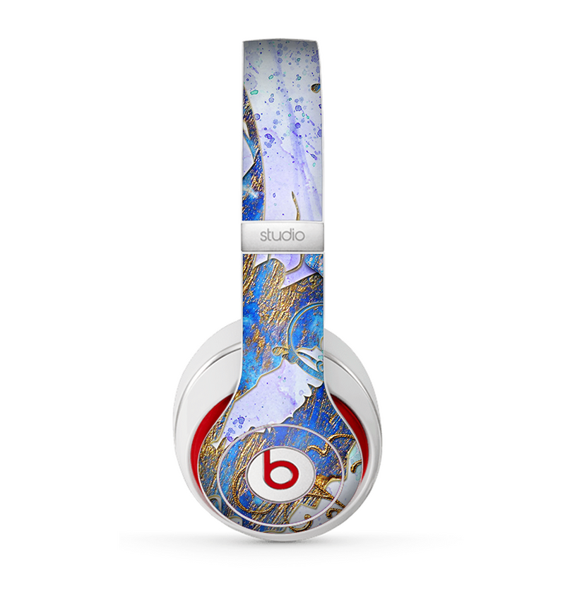 The Blue Bright Watercolor Butter-Floral Skin for the Beats by Dre Studio (2013+ Version) Headphones