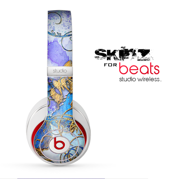 The Blue Bright Watercolor Butter-Floral Skin for the Beats by Dre Studio Wireless Headphones