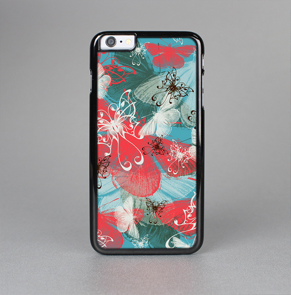 The Blue & Coral Abstract Butterfly Sprout Skin-Sert Case for the Apple iPhone 6 Plus