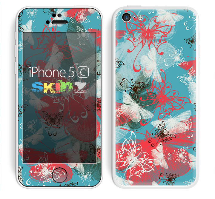 The Blue & Coral Abstract Butterfly Sprout Skin for the Apple iPhone 5c