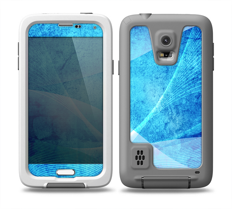 The Blue DIstressed Waves Skin for the Samsung Galaxy S5 frē LifeProof Case