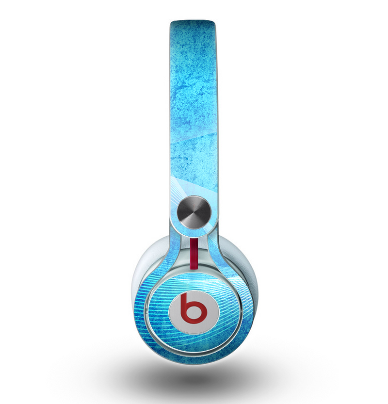 The Blue DIstressed Waves Skin for the Beats by Dre Mixr Headphones
