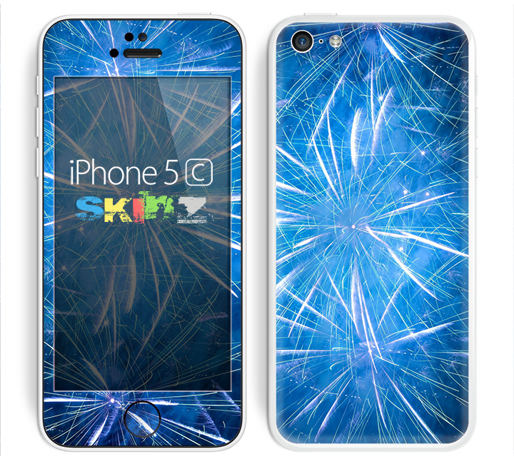 The Blue Fireworks Skin for the Apple iPhone 5c